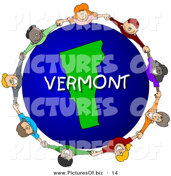 Clipart of a Children Holding Hands in a Circle Around a Vermont Earth Globe