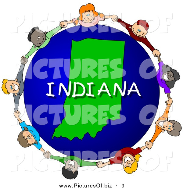 Clipart of a Children Holding Hands in a Circle Around an Indiana Globe on White