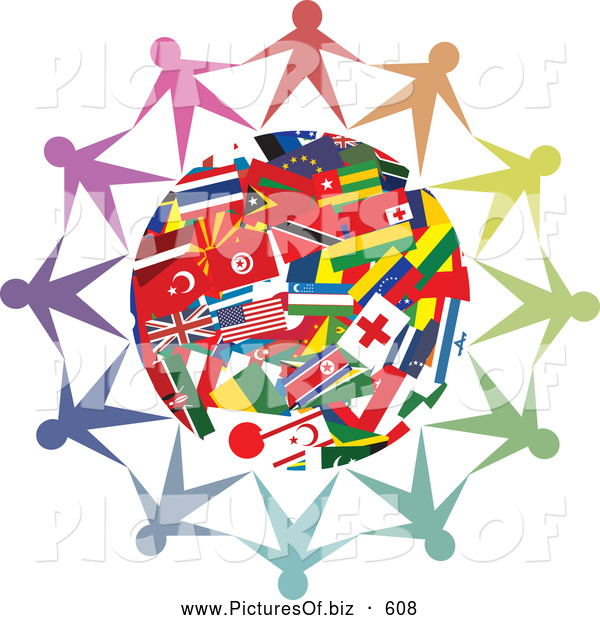 Clipart of a Circle of People Holding Hands Together Around a World Flag Globe