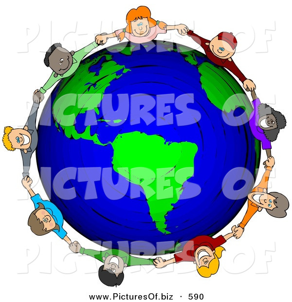 Clipart of a Circle of Worldwide Children Holding Hands Around a Globe of Earth