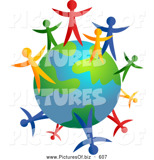 Clipart of a Colorful People Standing Around an Earth Globe Together