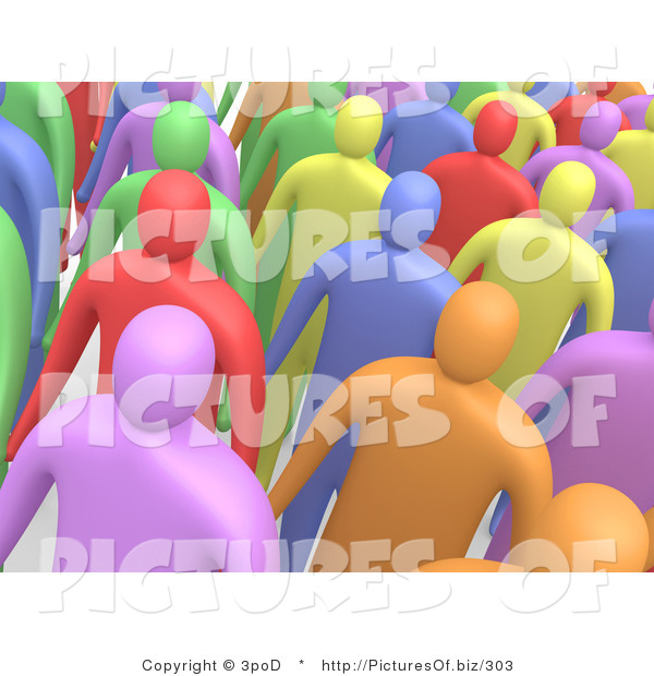 Clipart of a Crowd of Diverse 3d People