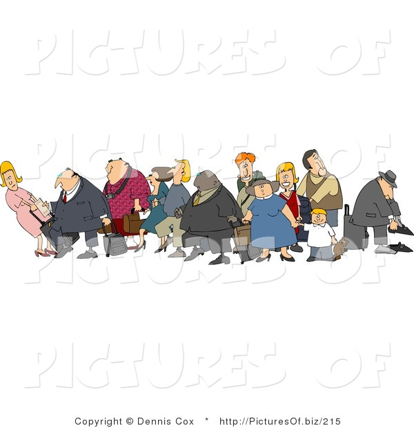 Clipart of a Crowded Group of Vacationers, Male and Female White and Black Children, Men and Women, with Luggage in an Airport