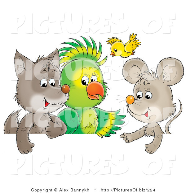 Clipart of a Cute Baby Wolf, Parrot, Yellow Bird and Mouse Chatting Together