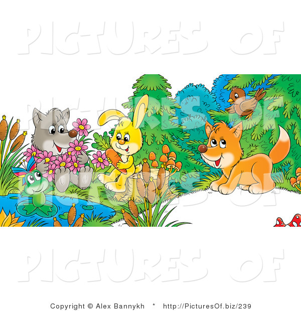 Clipart of a Cute Gray Wolf Holding Flowers, a Frog on a Lily Pad, Bunny Sitting on a Stump with a Carrot and Fox Chatting with a Bird