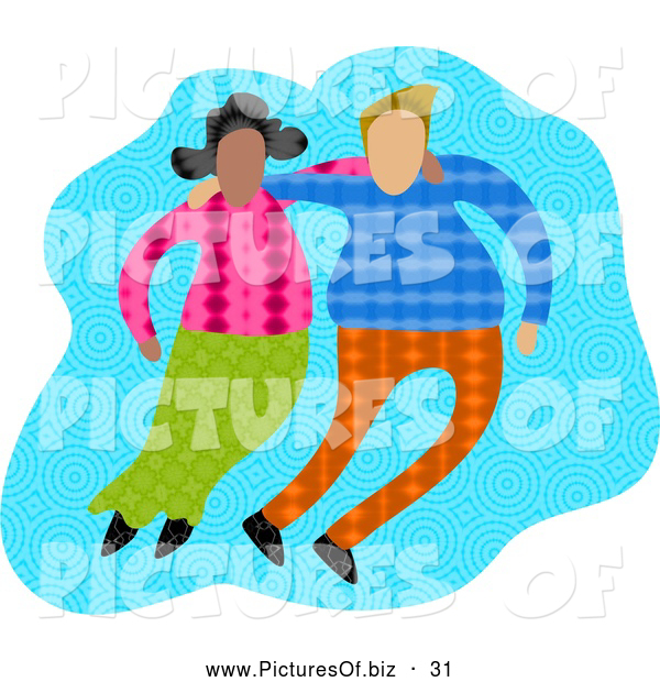 Clipart of a Diverse Couple with Their Arms Around Each Other, on Blue