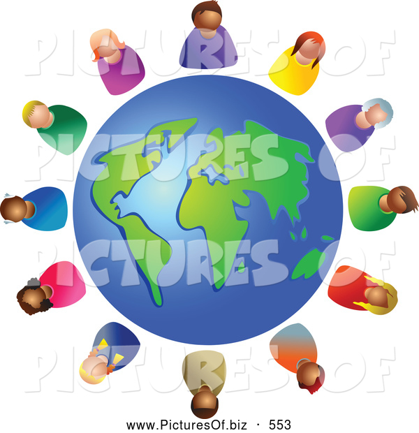 Clipart of a Diverse Globe Circled by Various Colorful People