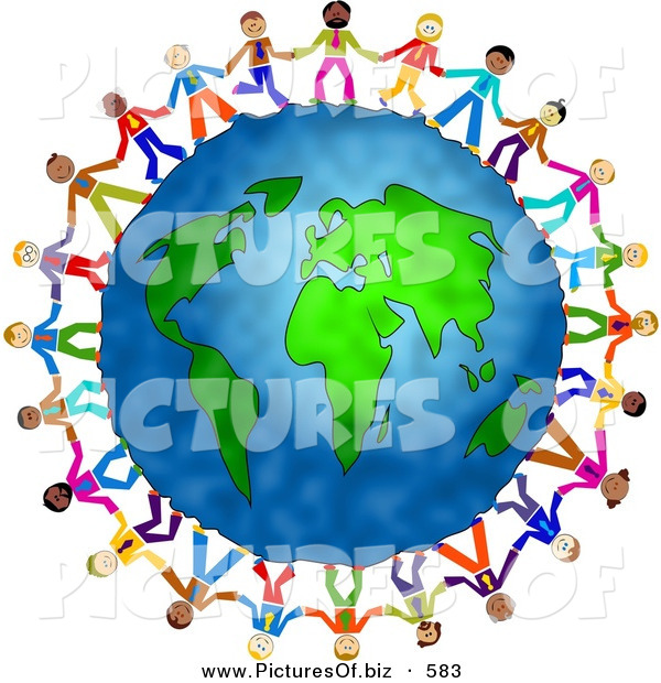 Clipart of a Diverse Group of Businessmen Holding Hands and Standing Around the World