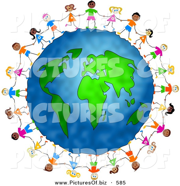 Clipart of a Diverse Group of Children Holding Hands and Standing Around the Globe
