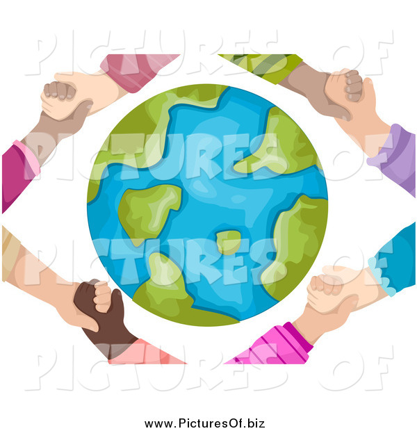 Clipart of a Diverse Hands Holding Each Other Around a Globe