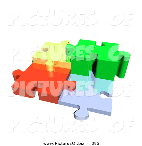 Clipart of a Four 3d Diverse Colored Puzzle Pieces Connected