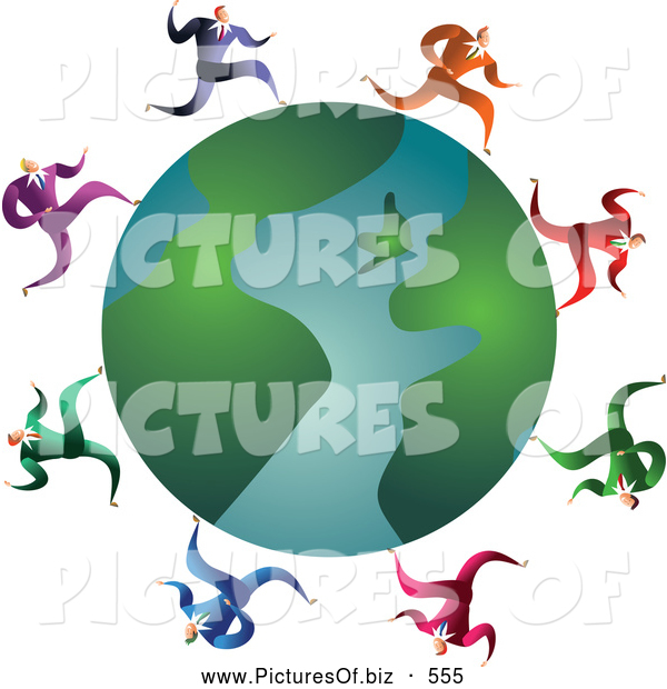 Clipart of a Friendly Team of Businessmen Running Around a Globe