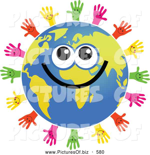 Clipart of a Global Face Character Surrouned by Helping Hands