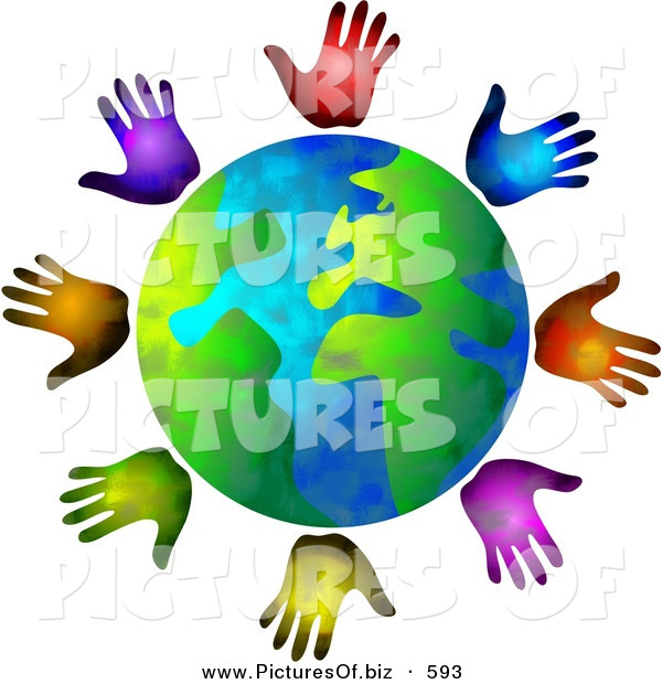 Clipart of a Globe Surrounded by Diverse Colored Hands