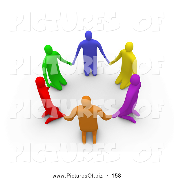 Clipart of a Group of 3d Colorful People on Their Knees in a Circle