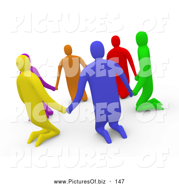 Clipart of a Group of 3d Diverse People Kneeling and Holding Hands in a Circle