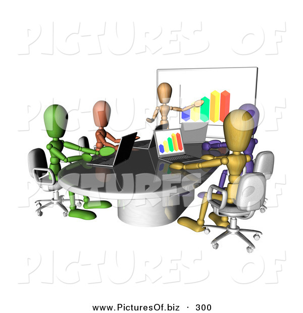 Clipart of a Group of and Colorful and Diverse Dummy Figures Using Laptops and a Bar Graph on a Board in a Meeting