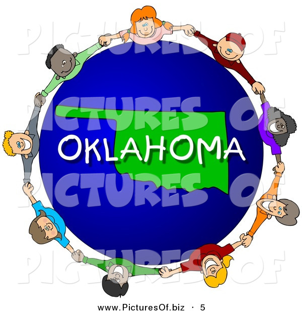 Clipart of a Group of Children Holding Hands in a Circle Around an Oklahoma Globe