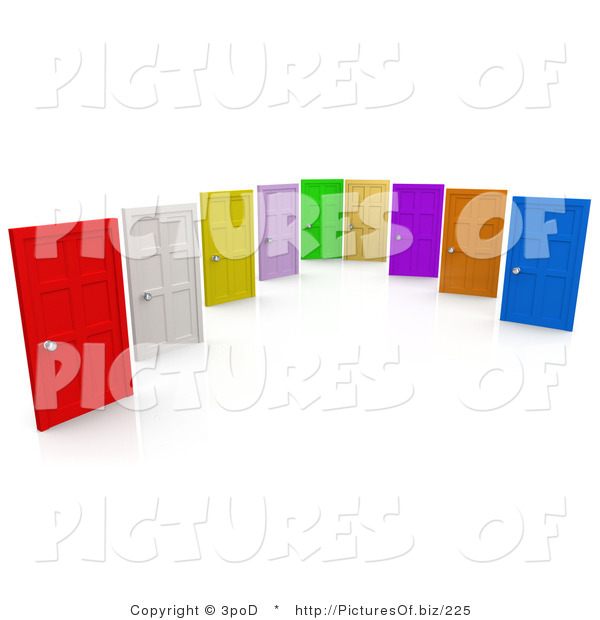 Clipart of a Group of Colorful Doors on a White Background