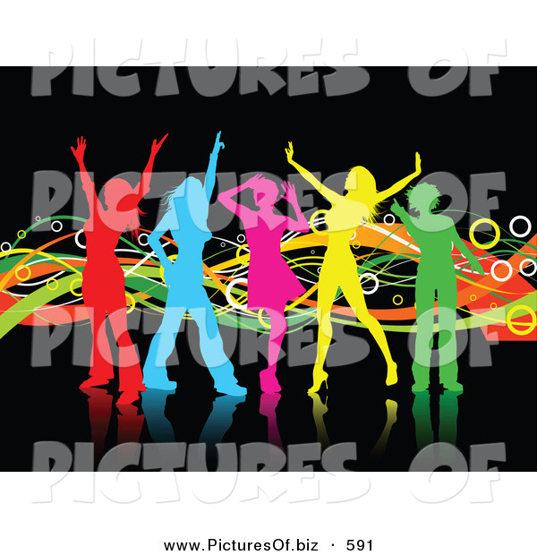 Clipart of a Group of Colorful Girl Silhouettes Dancing on Reflective Black