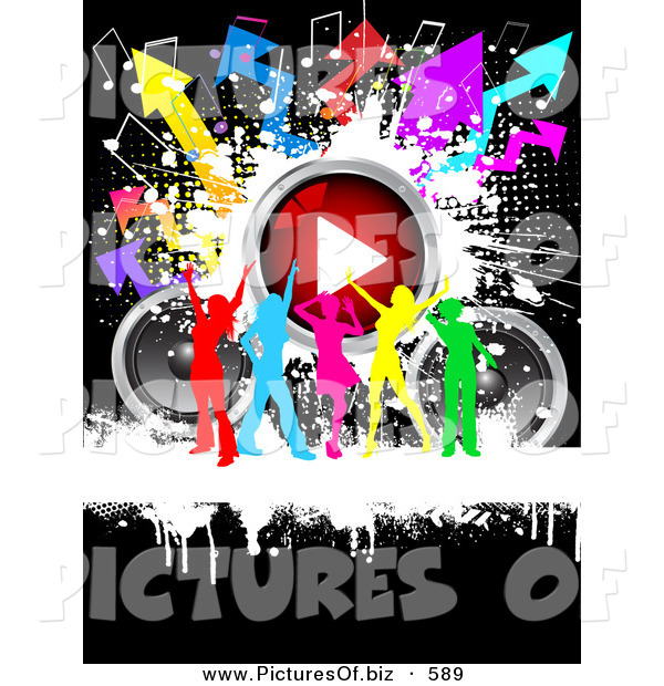 Clipart of a Group of Rinbow Silhouetted Ladies Dancing with Speakers, a Play Button, Music Notes and Arrows