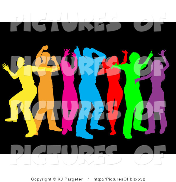 Clipart of a Group of Seven Colorful Yellow, Orange, Pink, Blue, Red, Green and Purple Dancers over Black
