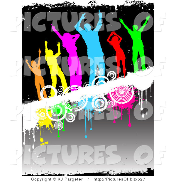 Clipart of a Group of Six Diverse and Colorful Silhouetted People Dancing on a White Grunge Text Bar with Drips and Circles over a Gradient Black Background