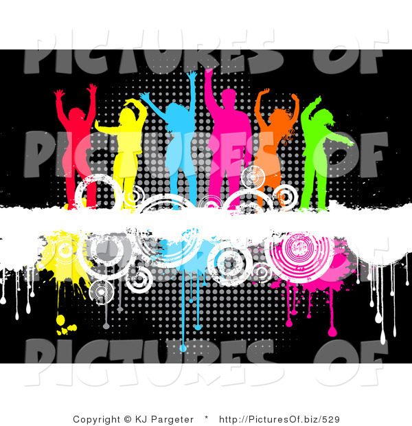 Clipart of a Group of Six Partying Colorful Silhouetted Men and Women Dancing on Top of a White Grunge Text Bar on a Background of Circles and Dripping Paint over Black