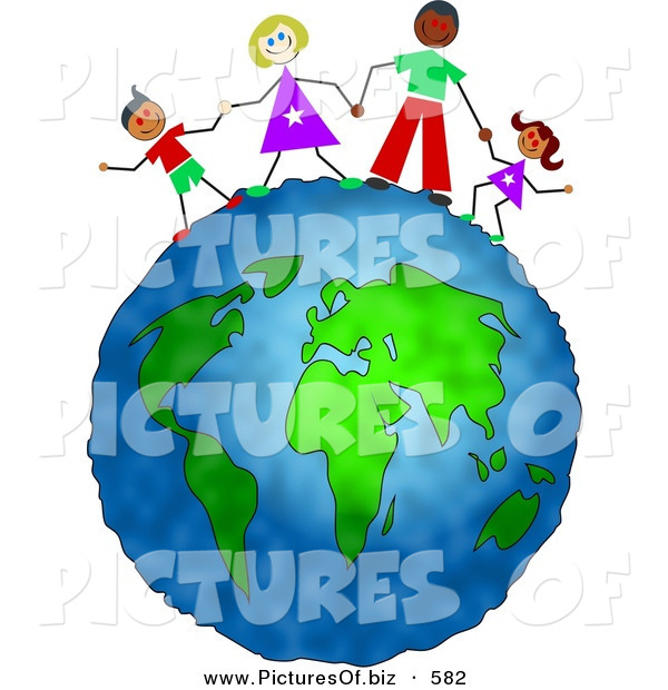 Clipart of a Happy Inter-Racial Family Holding Hands on Top of the Globe