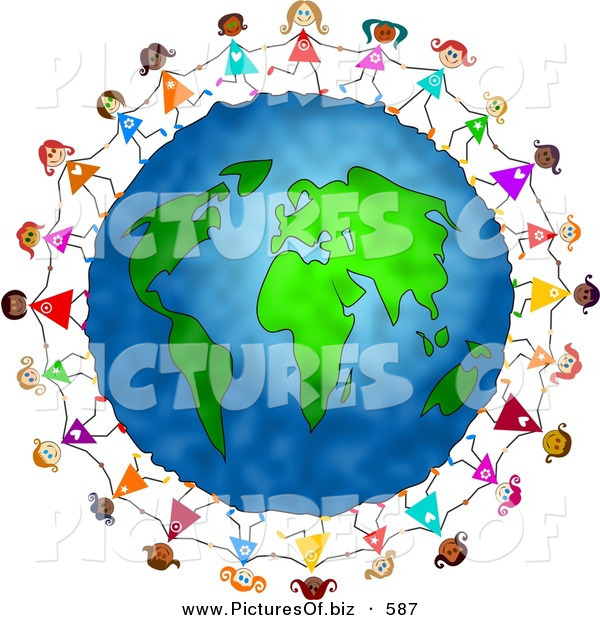 Clipart of a Playful and Diverse Ring of Little Girls Running Around the Globe and Holding Hands
