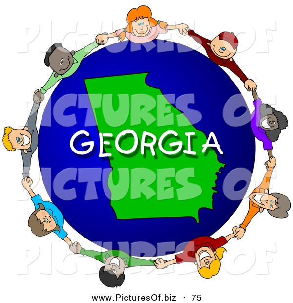 Clipart of a Ring of Children Holding Hands in a Circle Around a Georgia Globe