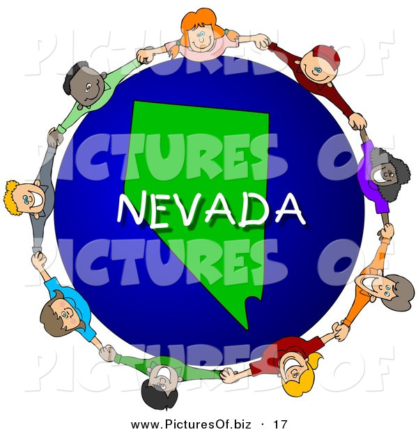 Clipart of a Ring of Children Holding Hands in a Circle Around a Nevada Globe