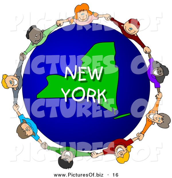 Clipart of a Ring of Children Holding Hands in a Circle Around a New York Globe