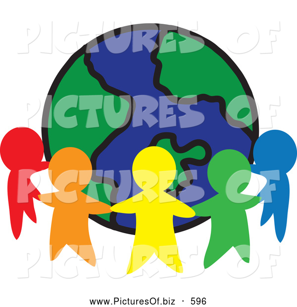 Clipart of a Ring of Colorful People Cutouts Around a Globe