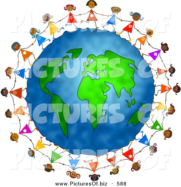 Clipart of a Ring of Diverse Girls Holding Hands Around the Globe