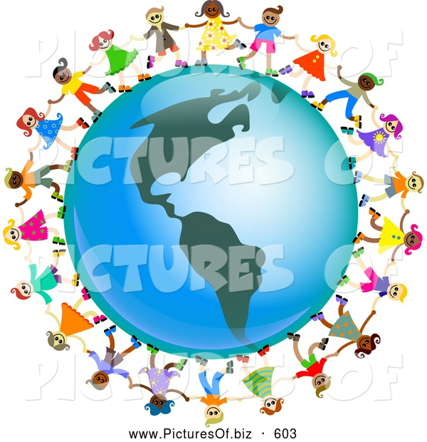 Clipart of a Ring of Global Kids Holding Hands Around an America Globe