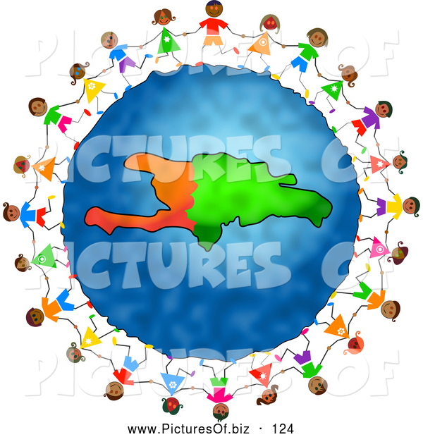 Clipart of a Ring of Stick Children Holding Hands Around a Haiti Globe