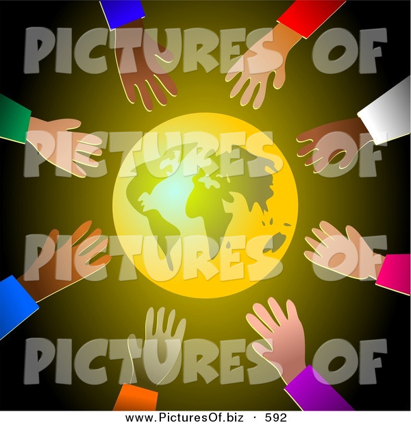 Clipart of a Shining Gold Earth Surrounded by Diverse Reaching Hands