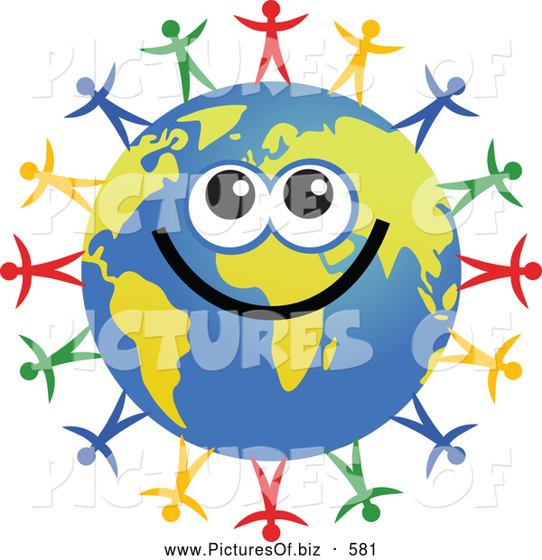Clipart of a Smiling Global Face Character with Diverse People Surrounding