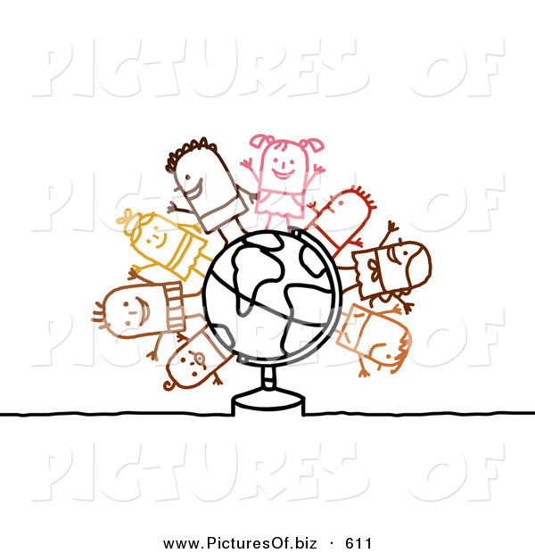 Clipart of a Stick Figure People Character Children Standing on a Globe