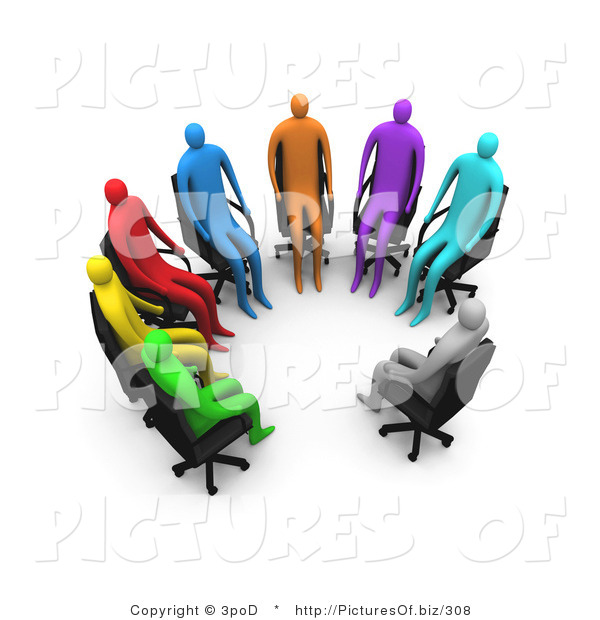 Clipart of a Support Group of 3d Diverse People Sitting in a Circle