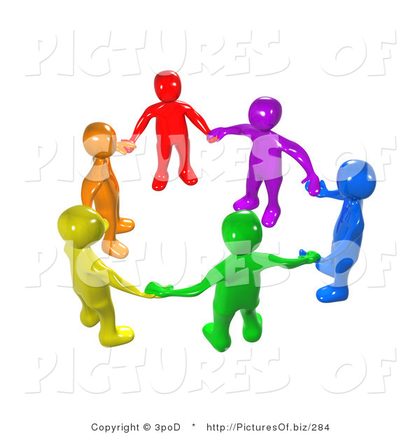 Clipart of a Union of 3d Diverse People Holding Hands