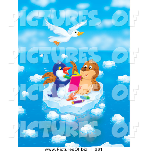 Clipart of a White Seagull Bird Flying Above a Seal Chatting with a Penguin Who Is Drawing in a Book on a Floating Ice Sheet on a Beautiful Day