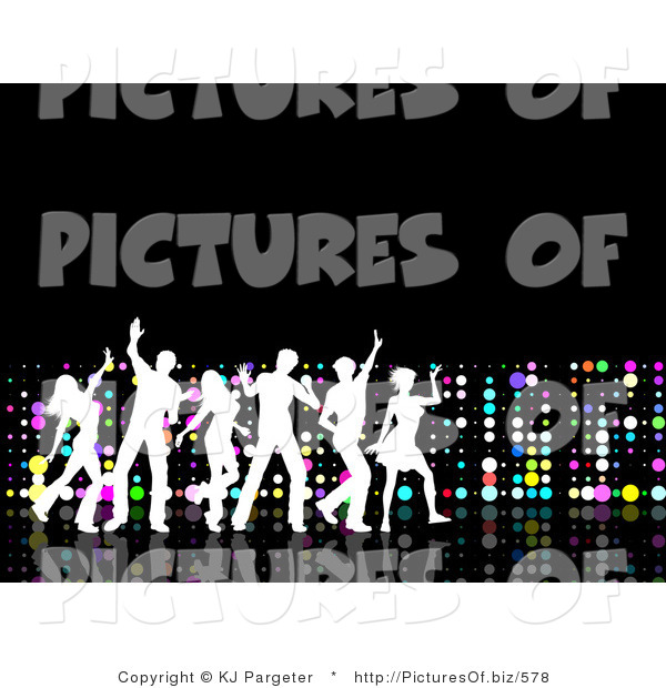 Clipart of a White Silhouetted Group of Young Partying People Dancing on a Black Surface, with a Wall of Colorful Dots