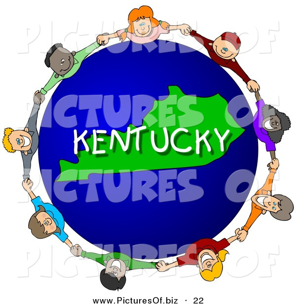 Clipart of Children Holding Hands in a Circle Around a Blue and Green Kentucky Globe