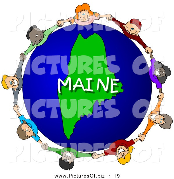 Clipart of Children Holding Hands in a Circle Around a Green Maine Globe