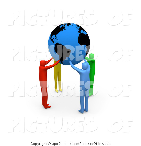 Clipart of Colorful 3d People Holding a Blue Globe