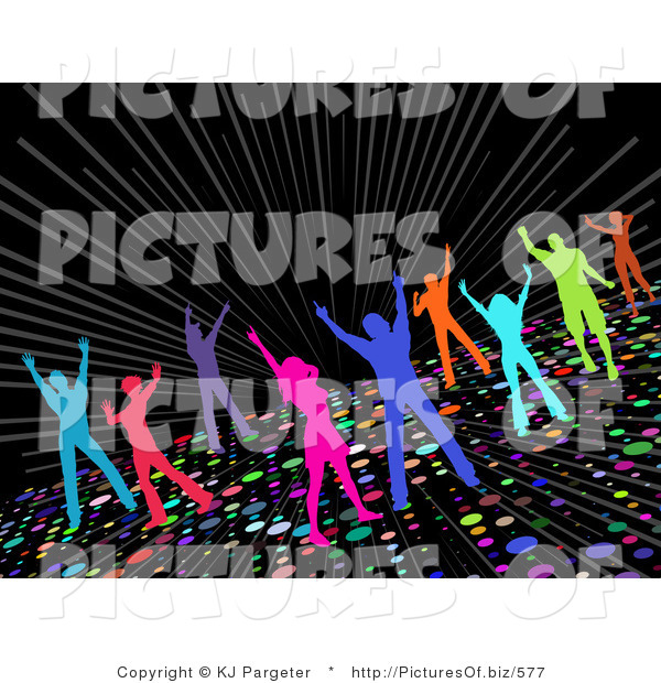 Clipart of Colorful Silhouetted Partying Men and Women Dancing on a Sparkling Disco Dance Floor on a Black Background