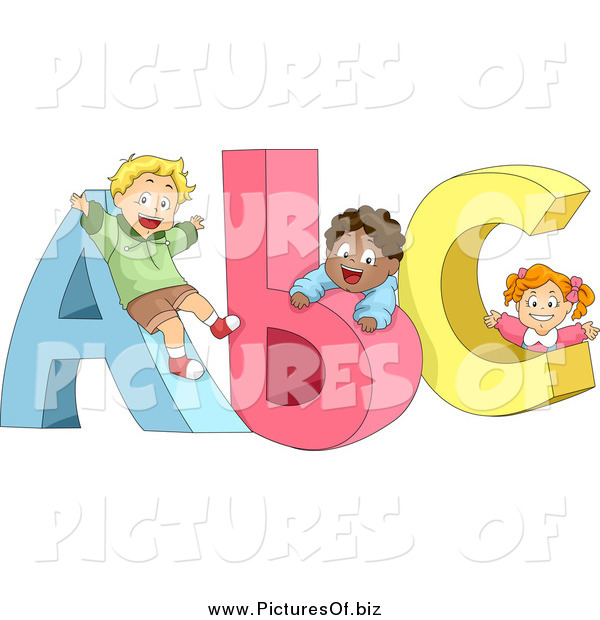 Clipart of Cute Diverse Children Playing on ABC