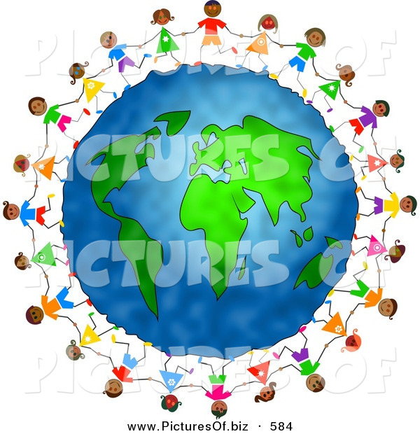 Clipart of Diverse Children Holding Hands and Running Circles Around the Globe